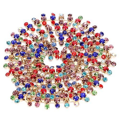 Oumefar Cadena de Diamantes de imitación Cadena de Diamantes de imitación de 3 Filas para Ropa de Bricolaje Vestidos de Novia Accesorios de decoración 1 Yarda(Tres Colores Mezclados)