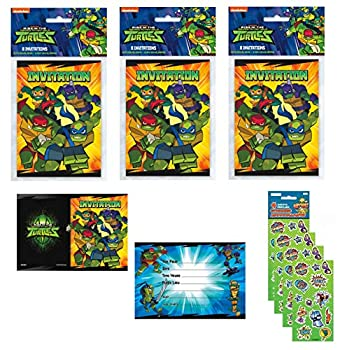 Teenage Mutant Ninja Turtle Birthday Party Invitations with Envelopes - 24 Count with Stickers