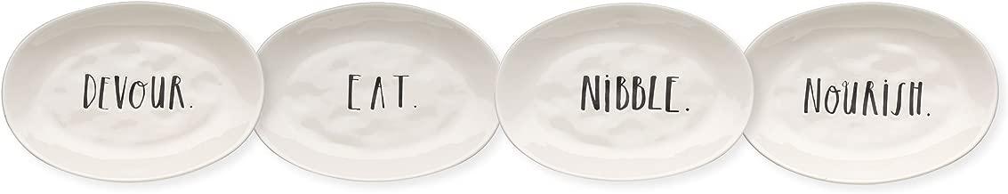 Chow Rae Dunn Magenta Word Eating Dishes Set of 6 Small Plates Appetizer Dessert ~ Devour Enjoy. Nourish Eat Taste