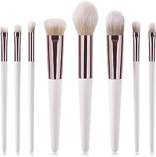 Tfscloin 8 Piece Makeup Brushes Set Foundation Blush Contour Concealer Eye Shadow Brush Cosmetic Tool (White Golden)
