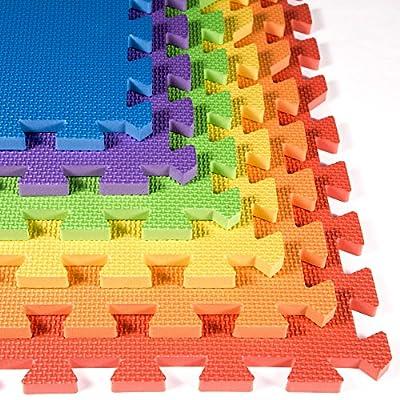 IncStores Rainbow Foam Tile Playmats 2ft x 2ft Children's Portable Soft Flooring