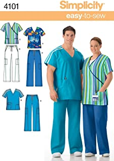 Simplicity Easy To Sew Men and Women's Scrubs Sewing Pattern, Sizes XL-XXXL.