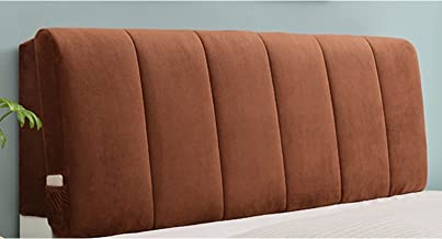 Flannel Headboard Cover for Home Bed Head Back Protection Dust Protector Cover (Color : Brown, Size : 180x60cm)
