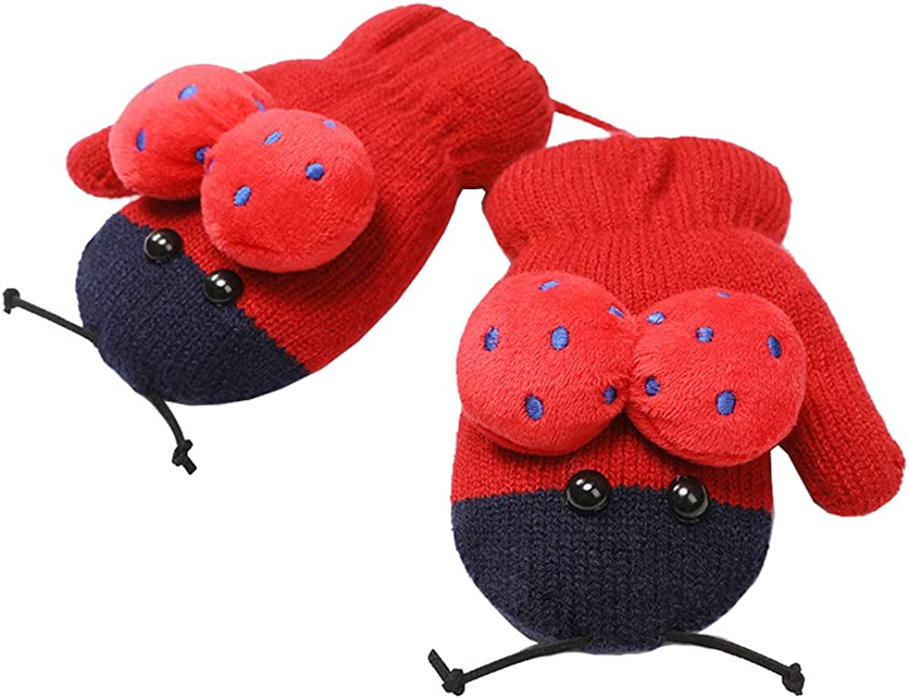 Xinqiao Kids Winter Warm Knit Mitten Cold Weather 3D Animal Glove for Boys Girls