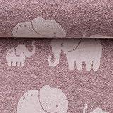 Swafing Jacquard-Jersey MADITA, Elefanten, rosa 50 x 160 cm