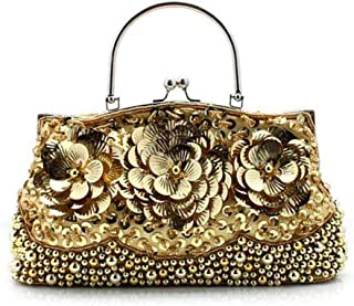 The Single Shoulder Bag Ask Carry Retro Fashion Hand Cheongsam Snip Dinner Will Pack/Piece Beaded Embroidery Bag 22 * ​​33cm Women's Shoulder Bag (Color : Gold)