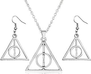 PPX Plata Triángulo Colgante Collar y Pendientes Reliquias de la Muerte y la Reliquias de la Muerte,Triángulo Conjunto de ...