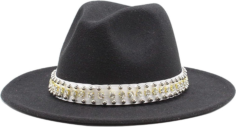 ASO-SLING Womens Floppy Hats Wide Brim Reinestone Hatband Fedora Cap Bright Color Cowgirl Hat Elegant Church Hat for Wedding
