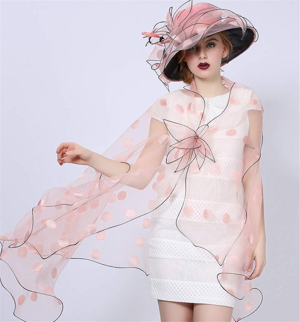 プロット悪性アクティブ女性の魅惑的なフローラルレースの帽子オーガンザの帽子とショール付き羽、ピンク