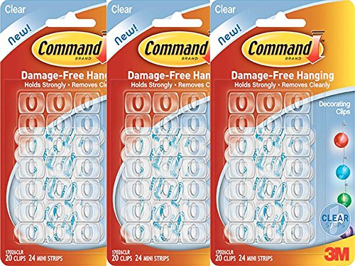 3M Command Adhesive Decorating Picture Hanging Hooks Clear - Set of 3 (60 Clips) by Command