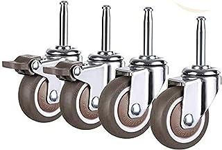 4 stuks meubelwielen, zwenkwielen, zwenkwielen, robuuste wielen van TPE-rubber, reservewielen voor bolderkarren, schacht M...