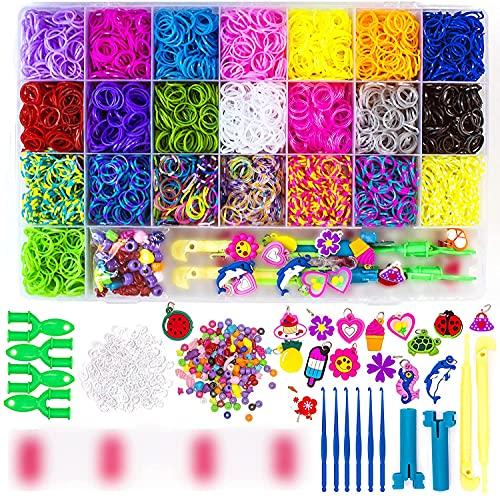 Loom Bands - Kit de gomas elásticas para hacer pulseras de niña - Ideal para hacer pulseras y abalorios