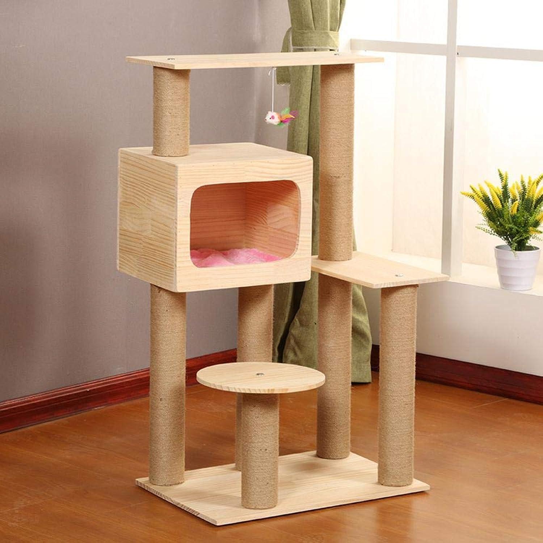 Hexiansheng Cat Climb Trees Real wood cat Litter Cat Scratch Board cat toy cat Jumping cat Scratch column 60  40  105cm