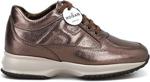 Hogan Damen HXW00N00010MECC405 Gold Leder Turnschuhe