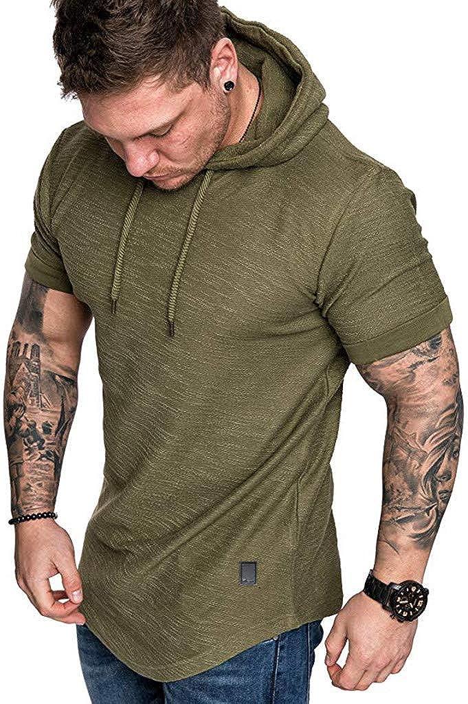 VEKDONE Men's Short Sleeve Hoodies Pullover Hipster Hip Hop Workout Hooded Sweatshirt Muscle Tops