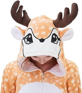Women Deer Onesie Pajama Reindeer Costume Adult Animal Halloween Christmas Cosplay Fawn Onepiece