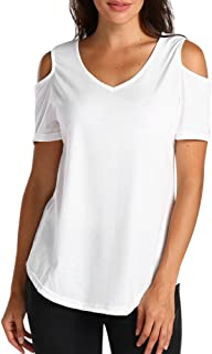 FarJing Clearance sale Women Ladies Casual Off Shoulder Round Neck Shirt Short Sleeve Top Blouse