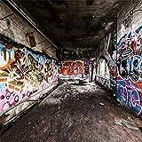 LFEEY 8x8ft Graffiti Wall Backdrops for Photography Underground Subway Dirty Grunge Street Graffito Birck Wall Punk Style Photoshoot Background Kids Adults Portrait Backdrops Photo Booth Studio Props