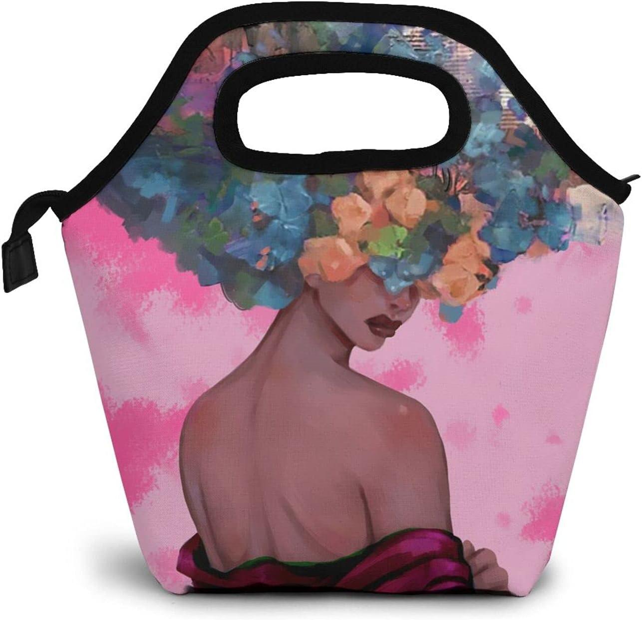 Black Woman Lunch Bag Afro Black Woman Handbag Lunch Kit for Woman School Travel Reusable(Pink)