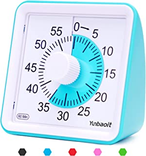 Yunbaoit Visual Analog Timer,Silent Countdown Clock, Time Management Tool for Kids and Adults Blue