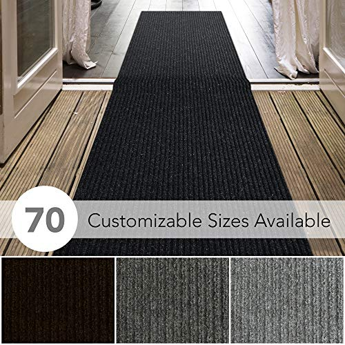 iCustomRug Spartan Weather Warrior Duty Indoor/Outdoor Utility Ribbed in 3ft,4ft,6ft Widths 70 Custom Sizes with Natural Non-Slip Rubber Backing 3' x 6' in Black