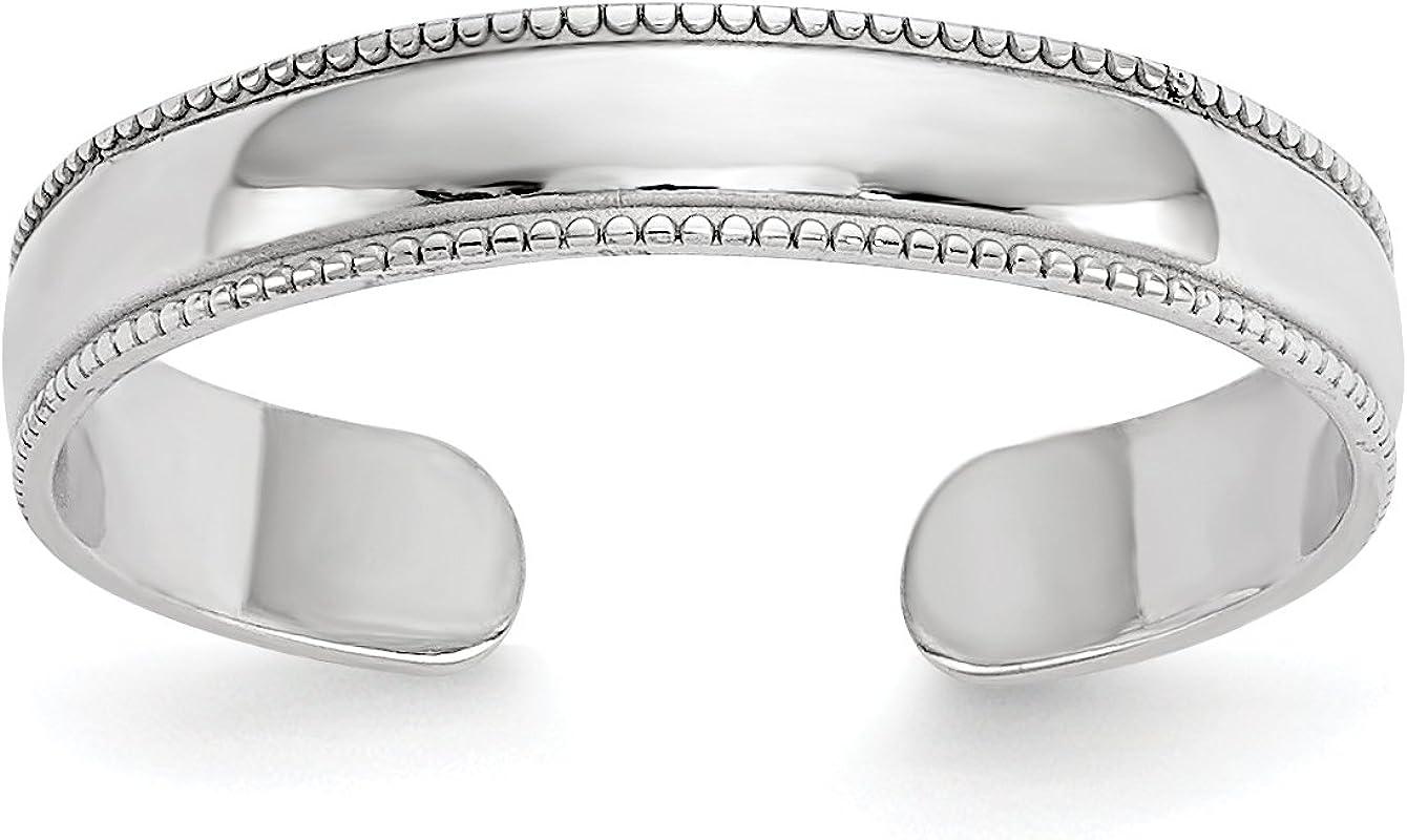 14k White Gold Polished Milgrain Toe Ring