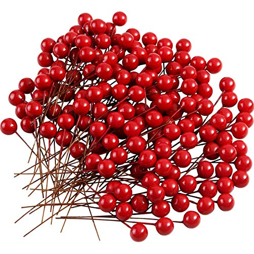 YRQ 200 Pcs Holly Berries Artificial Berries for Christmas Wreath Decorations Wreath Making Supplies Party Decoration