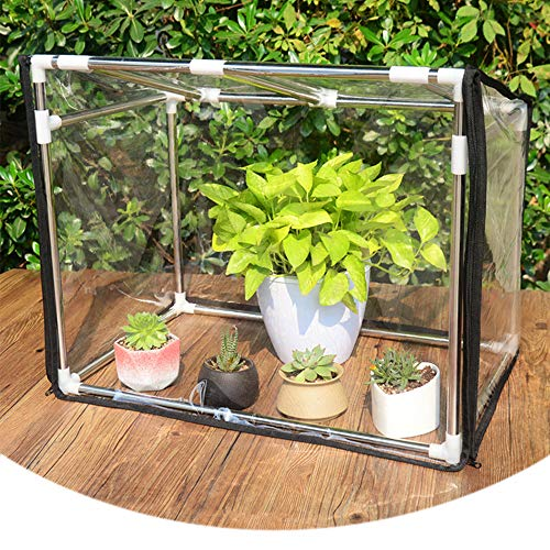 Small balcony plant greenhouse, Mini stainless steel shelf insulation shed, Portable winter antifreeze insulation greenhouse, For indoor and outdoor plant PVC protective cover