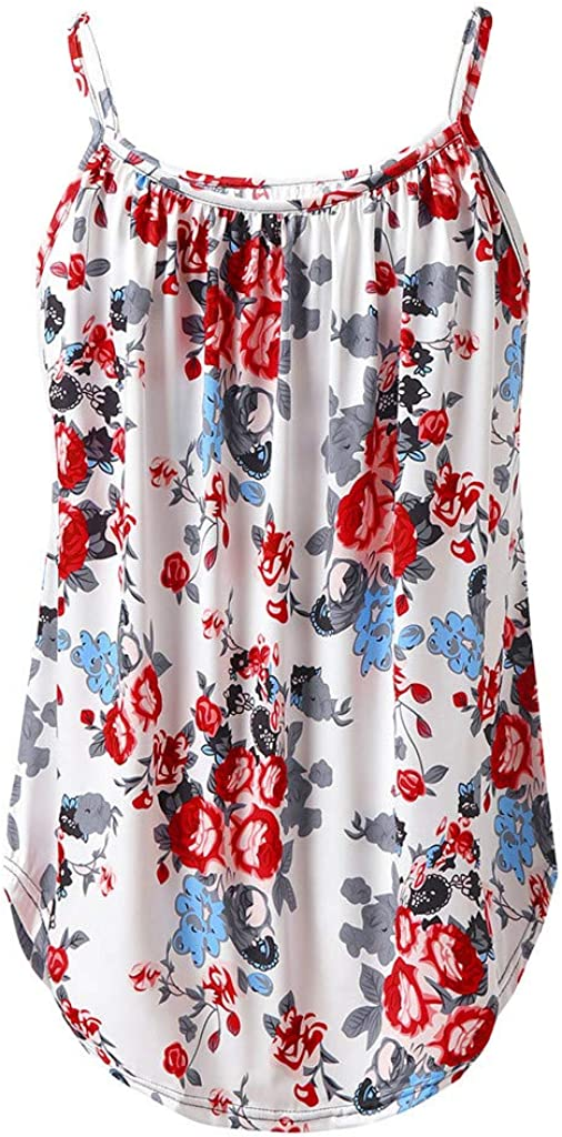 Tank Tops for Women,Womens Crop Top Floral Printed Shirts Sleeveless Blouse Loose Spaghetti Strap Soft Camisoles Tee