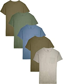 Men's Pocket T-Shirt Multipack (Large (42-44), Assorted Earth Tones (5 Pack))