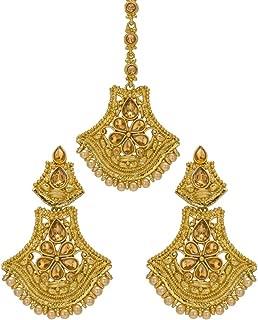 Bindhani Women's Indian Style Bollywood Jewellery Maang Tika Headpiece Bridal Hair Accessories Bridesmaid Wedding Traditional Bahubali Gold Plated Chandbali Kundan Earrings Mang Tikka Jewelry