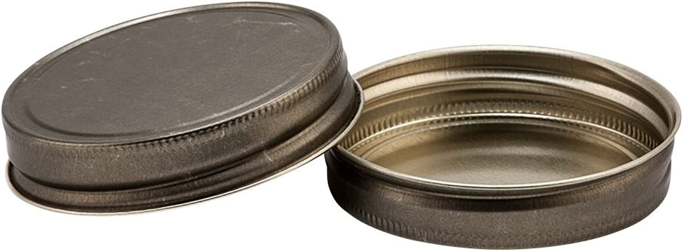 North Mountain Supply Regular Mouth Metal One Piece Mason Jar Unlined Lids Flat Top Pack Of 12 Antique Gold