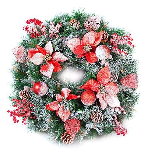 Best Artificial Frosted Red Decorated Christmas Wreath with 30 Bright White LED Battery Waterproof Lights (60cm Wreath)