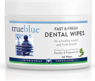 TrueBlue Parsley & Peppermint Fast and Fresh Dog Dental Swipes – Pre-Moistened Teeth Cleaning Pads - Non-Toxic, All-Natura...