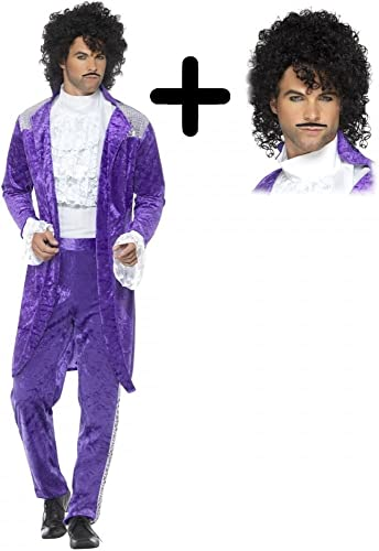 80% de descuento 80s púrpura + Wig Musician Mens Mens Mens Fancy Dress Icon Celebrity Prince Adults Costume L (42-44 )  marcas de diseñadores baratos