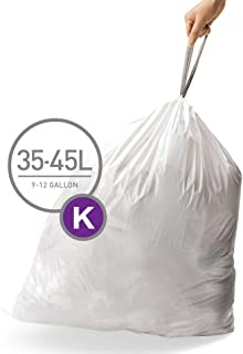 simplehuman Code K Custom Fit Liners, Tall Kitchen Drawstring Trash Bags, 35-45 Liter / 9.3-11.9 Gallon, 3 Refill Packs (60 Count)