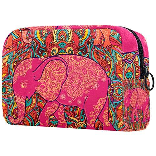 Kosmetische Reisetasche, Schminktasche, Schminktasche, Geburtstagsgeschenk, Jubiläumsgeschenk - Indisches Elefant- und Mandala-ethnisches rosa Tier, Muttertagsgeschenk