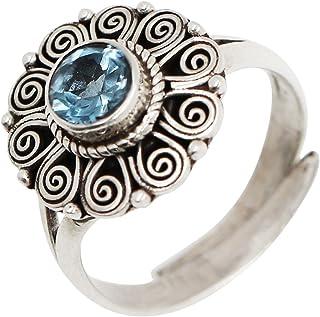 لونا أزور فيستون خلق توباز أزرق و 925 الفضة الاسترليني أنماط منقوشة خمر خاتم قابل للتعديل النساء الفتيات هدية المجوهرات