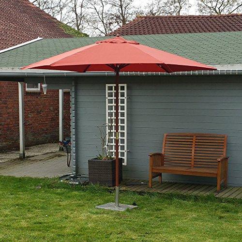 Land-Haus-Shop® parasol 3m, Landhuisscherm 3 meter, marktscherm 300cm hardhout, scherm terracotta, rood