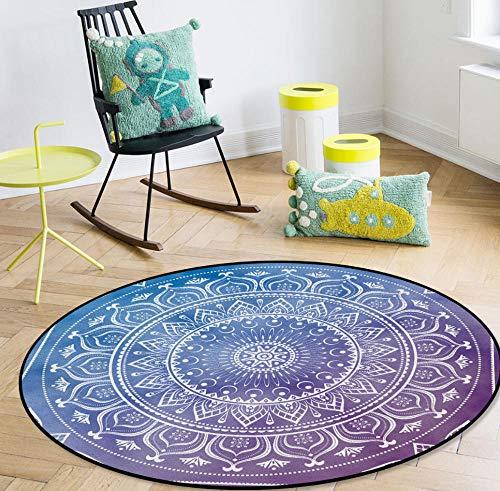 QAQV Alfombras de Modelo étnico Budista alfombras para Sala de Estar en casa Alfombra Redonda para1,2 m de diámetro