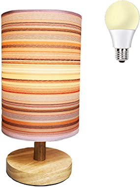 AFORTLO Table Desk Lamp, Small Cute Nightstand Night Light Solid Wood Base Lamp for Bedroom,Living Room,End Table or Office w