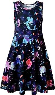 Jxstar Girls Unicorn Dress Mermaid Dresses Kids Twirl Swing Party Outfits