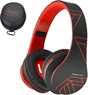 PowerLocus Bluetooth Over-Ear Headphones, Wireless Stereo Foldable Headphones Wireless and Wired Headsets with Built-in Mic, Micro SD/TF, FM for iPhone/Samsung/iPad/PC (Black/Red)