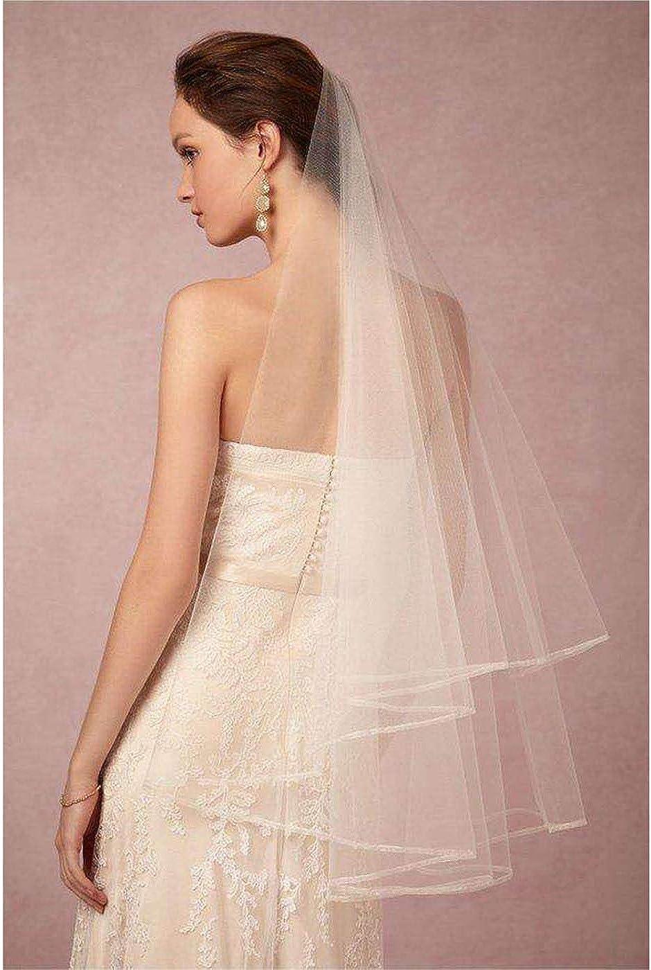 Edary Wedding Bridal Veil with Comb White Pencil Edge Drop Veil 2 Tier Brides Hair Accessories for Women Elbow Length