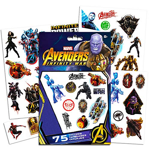 Marvel Avengers Temporary Tattoos Party Set (75) -- Avengers Infinity War Tattoos Featuring Iron Man, Thor, Hulk, Captain America and More (Includes Separately Licensed Bookmark)