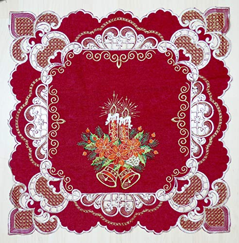 Tafelloper, tafelkleed, middenkleed, kerstmis, geborduurd, rood/goud, 60 x 60 cm