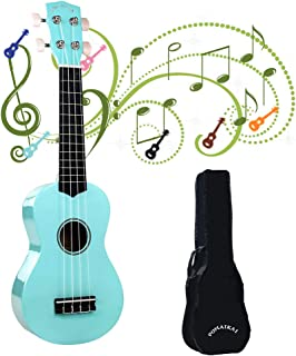 POMAIKAI Ukulele Wood Ukuleles for Kids Beginner Ukulele Pack Soprano Ukulele Starter Kid Guitar 21 Inch Rainbow Uke with Gig Bag (Light-Blue)