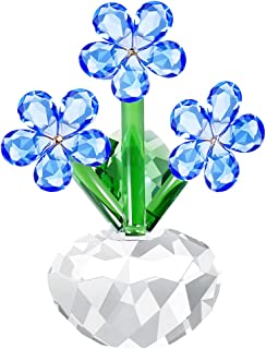H&D HYALINE & DORA Crystal Forget-me-not Flower Figurines Collectibles Table Decor