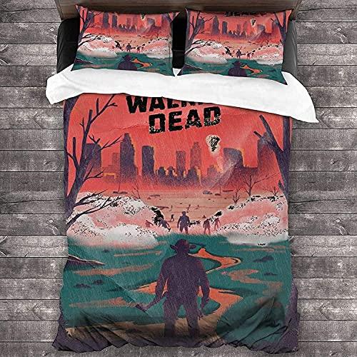 QWAS The Walking Dead - Juego de funda de edredón y funda de almohada (microfibra, apto para todas las estaciones del año (A01, 220 x 240 cm + 80 x 80 cm)