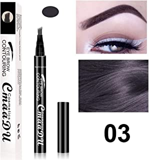 Waterproof Microblading Eyebrow Tattoo Ink Pen Ultra-Thin Carving Eyebrow Tattooing Pencil Sweat-Proof 4 Head Fork 3 Gray